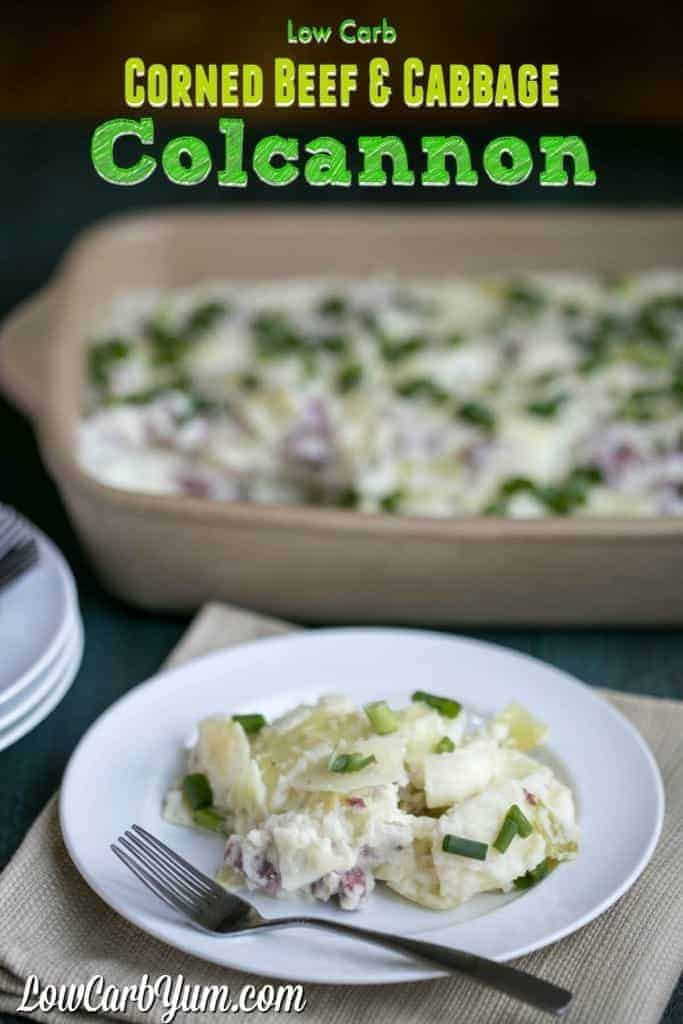 Got leftover corned beef and cabbage from St. Patrick's Day? Use the leftovers to make a delicious low carb corned beef and cabbage colcannon!
