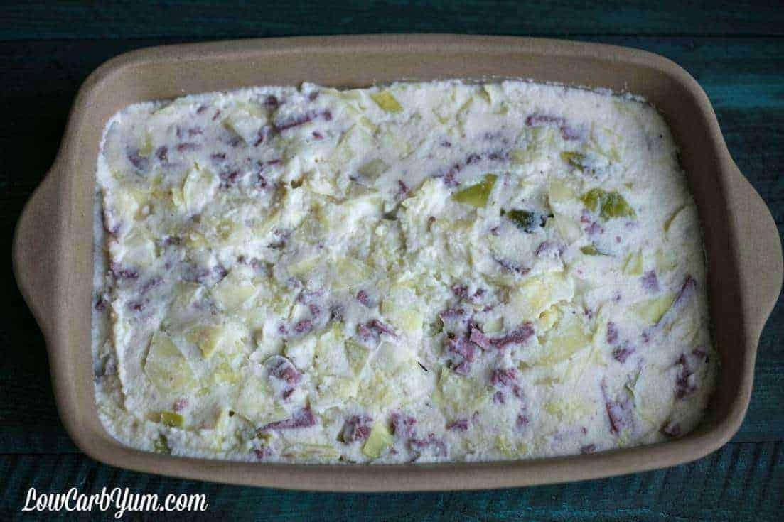 corned beef casserole in pan