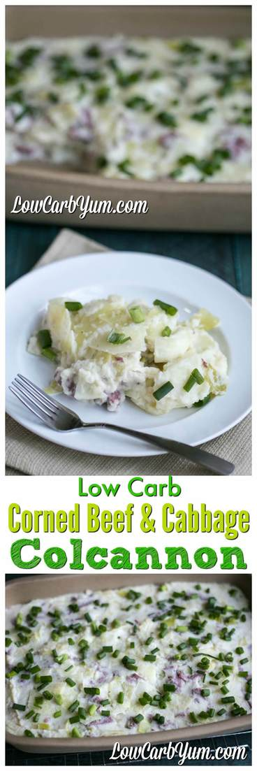 Got leftover corned beef and cabbage from St. Patrick's Day? Use the leftovers to make a delicious low carb corned beef and cabbage colcannon! #lowcarb #keto #ketorecipe #glutenfree #casserole | LowCarbYum.com