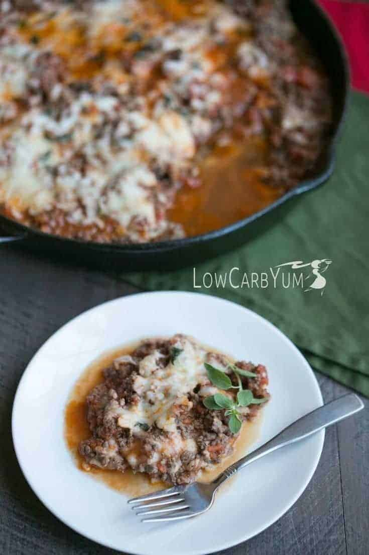 skillet lasagna recipe from the Quick & Easy Ketogenic Cookbook