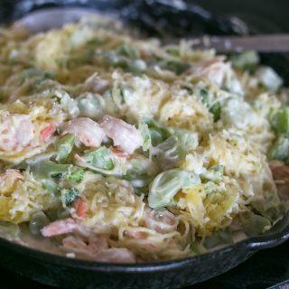 Broccoli Shrimp Spaghetti Squash Alfredo
