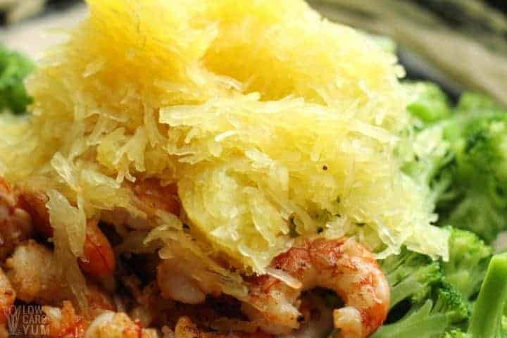 Adding shrimp spaghetti squash broccoli