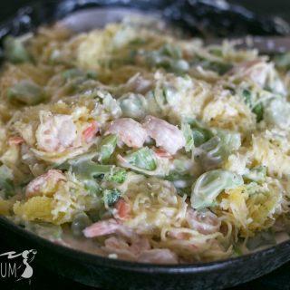 Low carb broccoli shrimp spaghetti squash alfredo | LowCarbYum.com