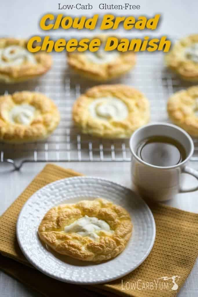 An egg fast friendly keto diet cloud bread cheese danish recipe that's super low in total carbs. It's a nice low carb treat to enjoy any time of day. | LowCarbYum.com