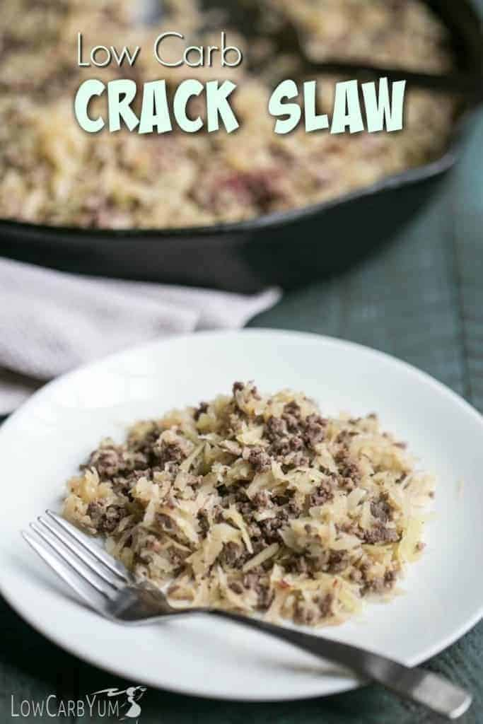A quick and easy low carb crack slaw made with grated cabbage and ground beef. So good, it can be addicting which is how it got it's name. TMH Whole30 Keto Dinner Recipe at LowCarbYum.com