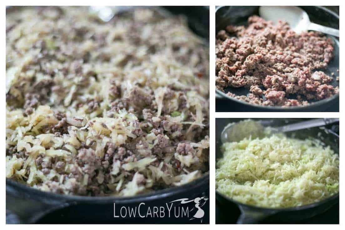 preparing skillet cabbage beef