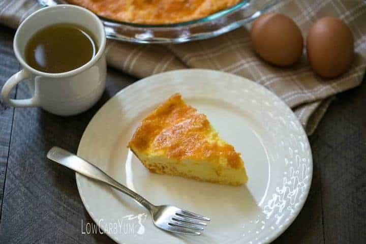It's not always easy to find time to cook. Bake a low carb keto egg fast cheese quiche on the weekend to have easy LCHF egg fast friendly meals during the week.   LowCarbYum.com