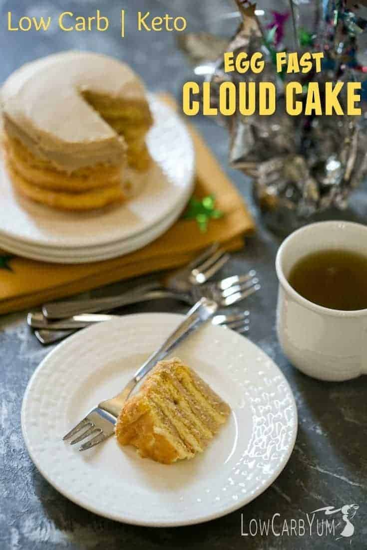 Sticking to a very low carb keto egg fast diet plan doesn't have to eliminate sweets. You can enjoy this egg fast cloud cake during your fast and stay in ketosis! | LowCarbYum.com