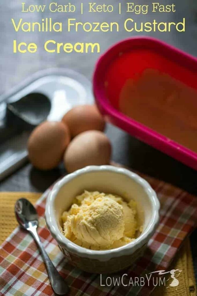 Low carb egg fast vanilla frozen custard ice cream   LowCarbYum.com