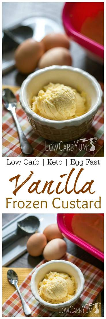 Dropping carbs is simple when you have a variety of keto desserts to enjoy. There's only 0.7g carbs in this egg fast frozen custard low carb ice cream recipe! #keto #ketorecipe #sugarfree | LowCarbYum.com