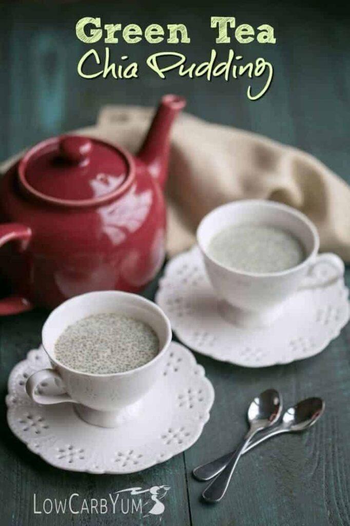 Low carb green tea chia pudding recipe   LowCarbYum.com