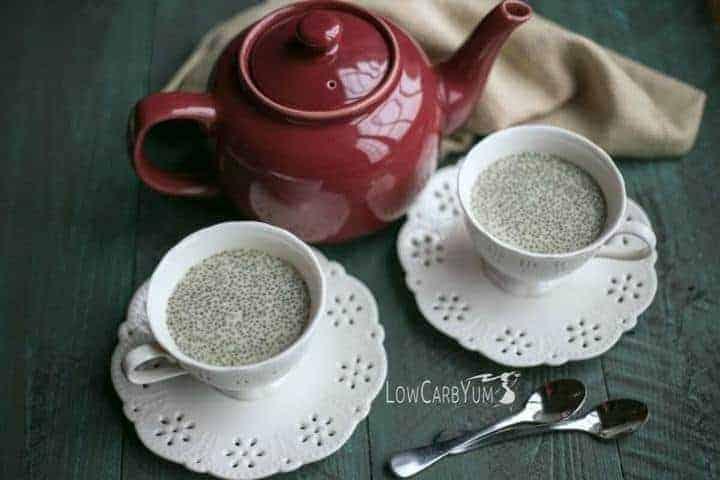 Low carb matcha green tea chia pudding recipe | LowCarbYum.com