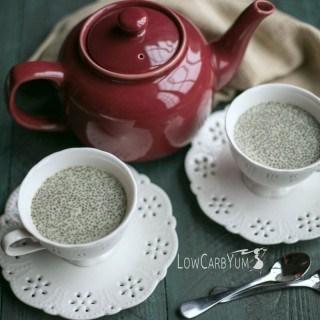 Low carb green tea chia pudding recipe | LowCarbYum.com