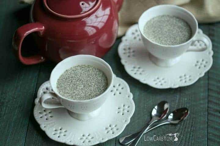 Low carb matcha green tea chia pudding recipe   LowCarbYum.com