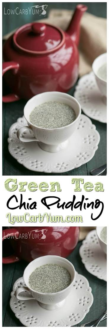Matcha, green tea, and chia seeds have many known benefits. Get a health boost by eating this delicious low carb matcha green tea chia pudding. Whole30 Atkins Keto Dessert | LowCarbYum.com