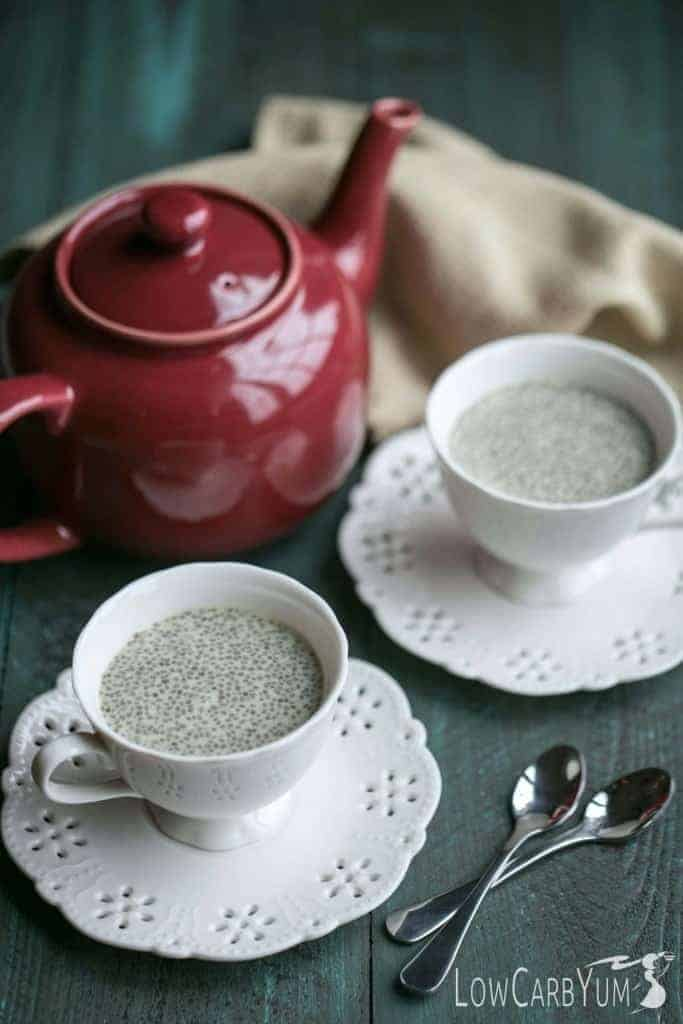 Matcha, green tea, and chia seeds have many known benefits. Get a health boost by eating this delicious low carb matcha green tea chia pudding. Whole30 Atkins Keto Dessert   LowCarbYum.com