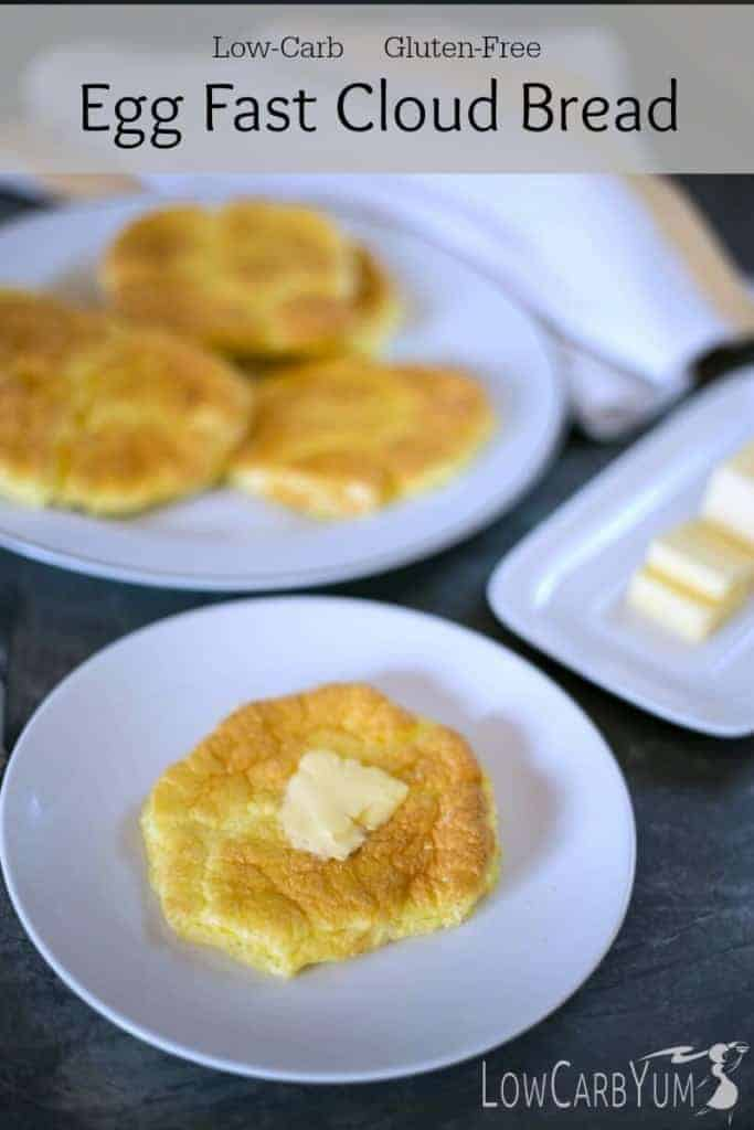 A low carb high fat ketogenic diet doesn't have to eliminate bread. These egg fast cloud bread oopsie rolls have only 0.6g total carbs each.