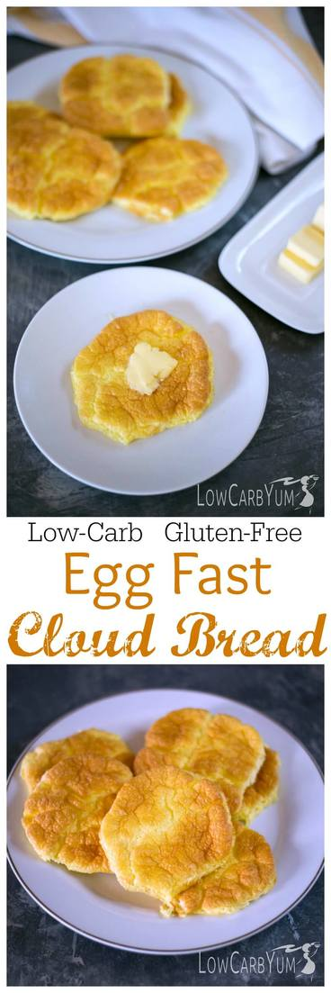 A low carb high fat ketogenic diet doesn't have to eliminate bread. These egg fast cloud bread oopsie rolls have only 0.6g total carbs each. #lowcarb #keto #eggfast #ketorecipes #lowcarbbread #ketobread | LowCarbYum.com