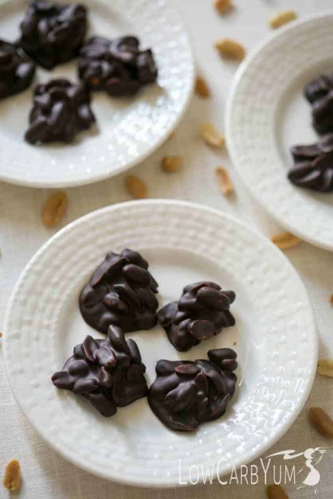 Peanuts are a perfect better-for-you snack providing protein and nutrients. Enjoy these low carb peanut clusters any time you want a special treat. | LowCarbYum.com