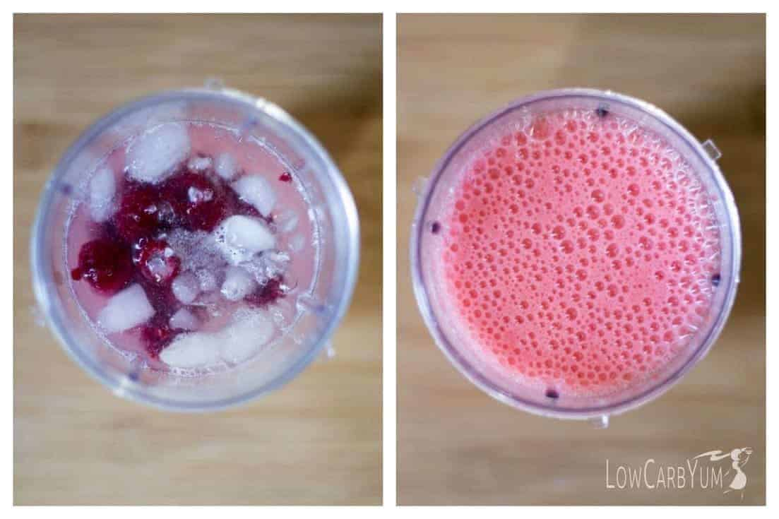 Low carb sparkling raspberry limeade mocktail