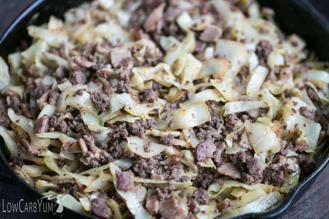 Low carb bacon burger cabbage stir fry