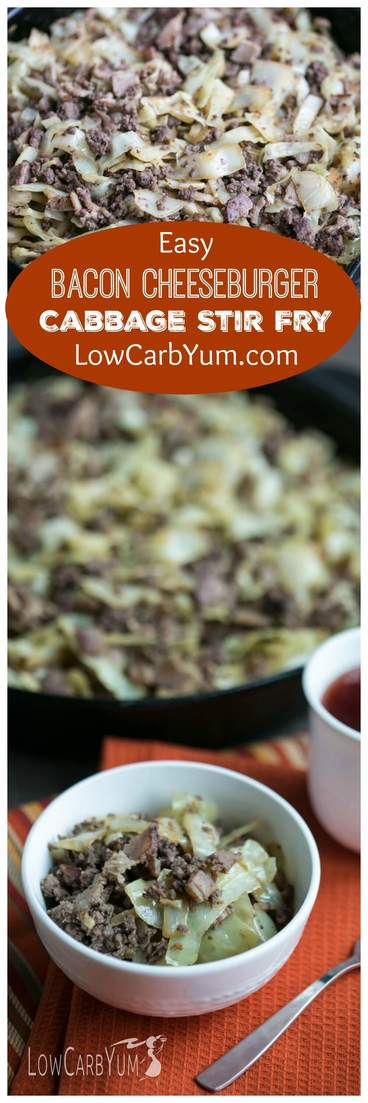 Short on time? It only takes about 20 minutes to whip up a delicious low carb bacon burger cabbage stir fry skillet dish that the whole family will love. | LowCarbYum.com
