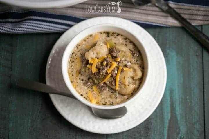 Low carb crock pot cheeseburger soup