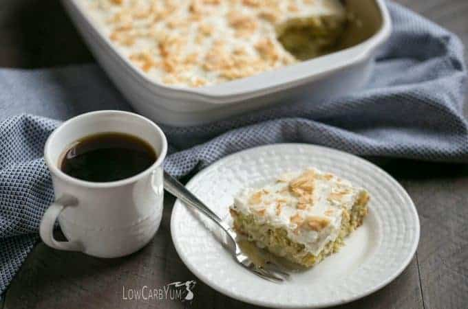 Low carb yellow squash coconut cake with cream cheese frosting