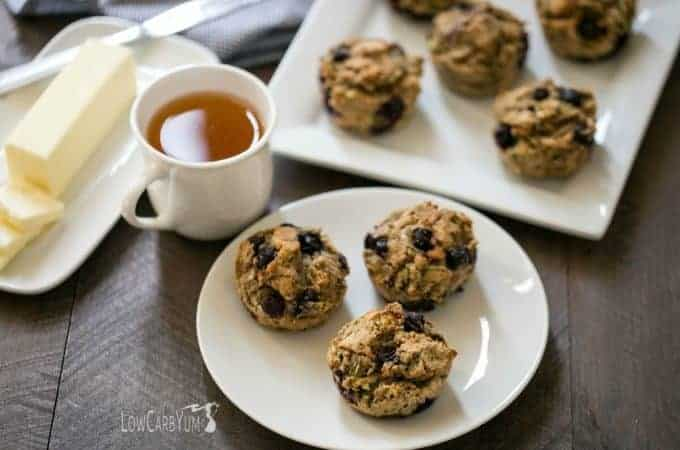 Low carb gluten free zucchini blueberry muffins