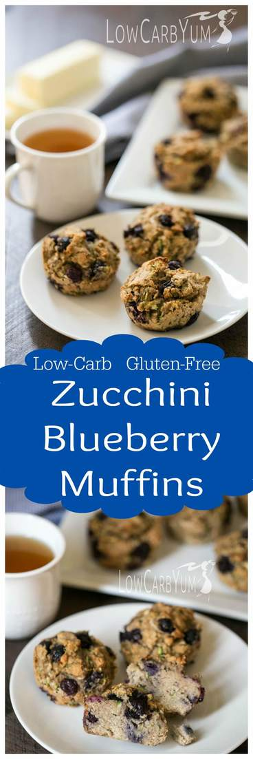Zucchini and blueberries flourish in the summer. These two summer crops can be combined into tasty low carb gluten free zucchini blueberry muffins. | LowCarbYum.com