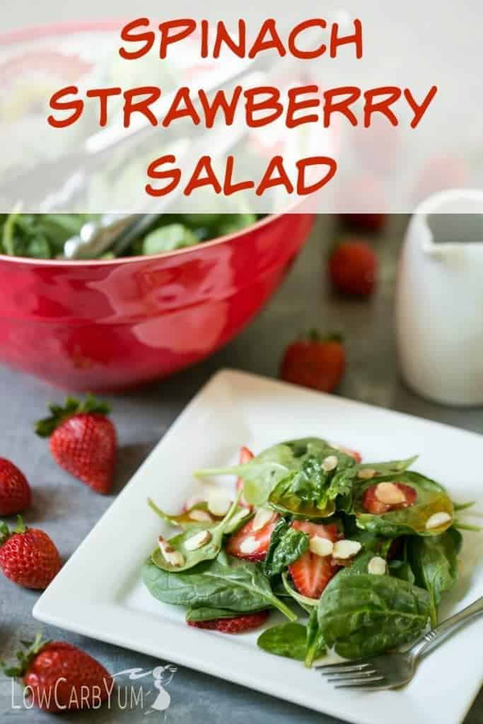 A simple low carb spinach strawberry salad with vinaigrette dressing. It's a light salad to enjoy on the side made with fresh greens, berries, and almonds. | LowCarbYum.com