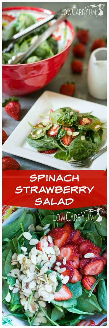 A simple low carb spinach strawberry salad with vinaigrette dressing. It's a light salad to enjoy on the side made with fresh greens, berries, and almonds.