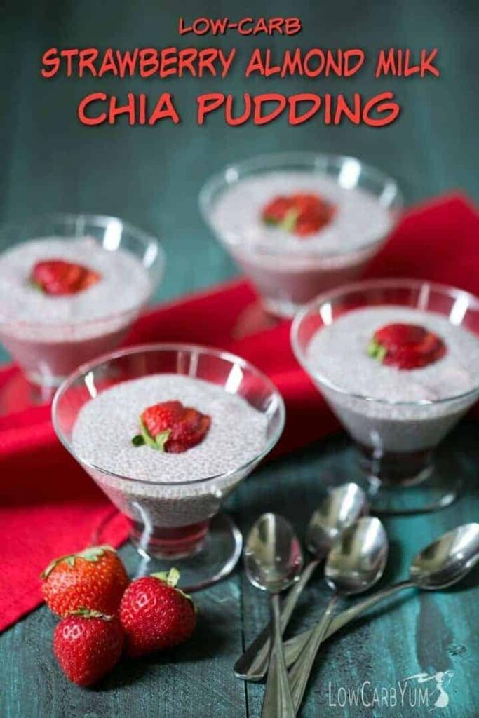 You'll love this low carb strawberry almond milk chia pudding. The fruity flavor is very refreshing and it's a tasty way to get the benefits of chia seeds.