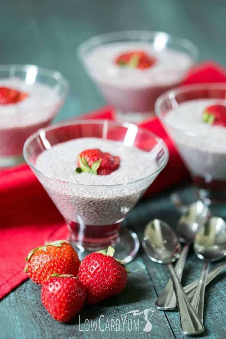 almond milk chia pudding topped with strawberry