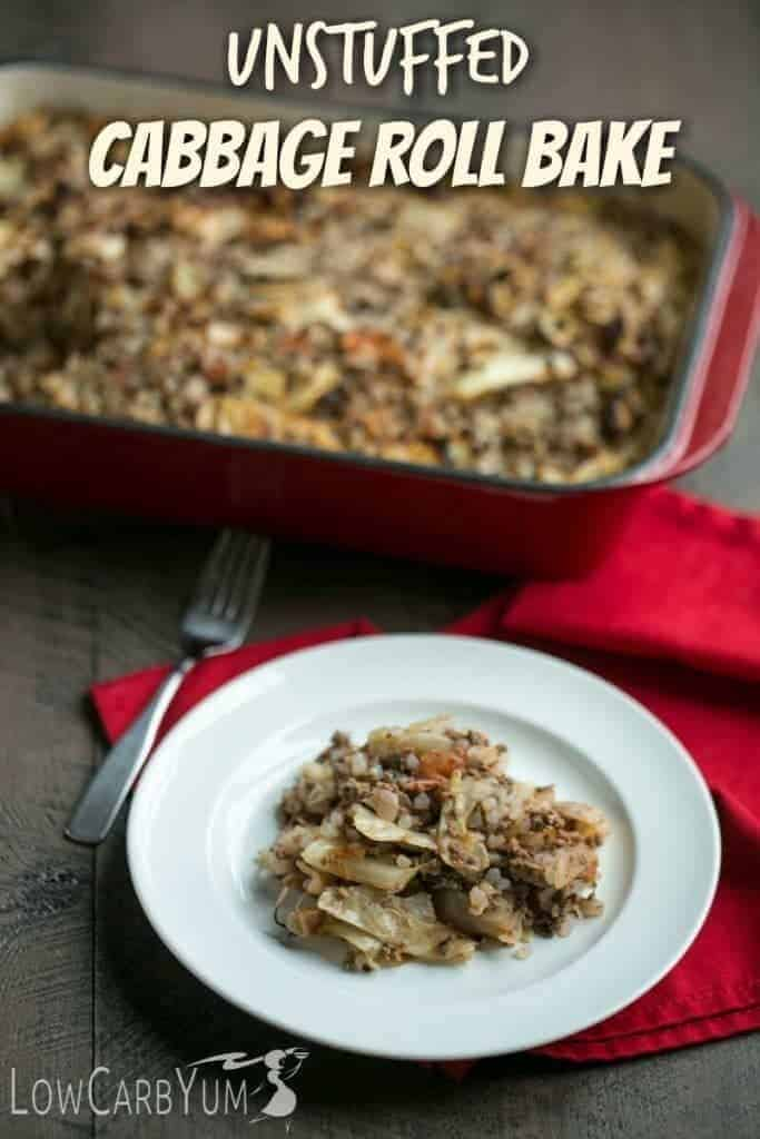 Try this low carb unstuffed cabbage roll bake when you don't have time to make individual cabbage rolls. A great meal to share with family and friends! | LowCarbYum.com