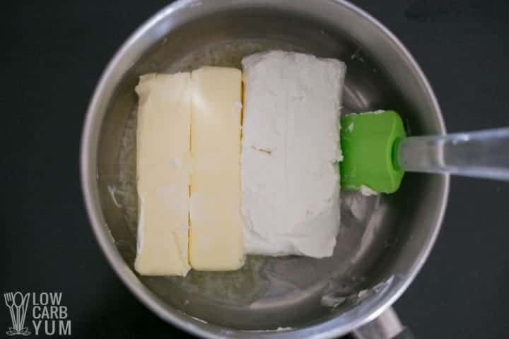 cream cheese and butter in pot
