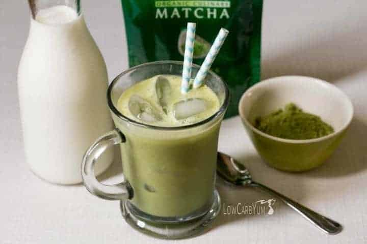 Need a healthier alternative to iced coffee? Try this low carb iced vanilla matcha green tea latte. It's low in calories with less than 1 gram of carbs!
