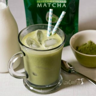 Low carb iced vanilla matcha green tea latte