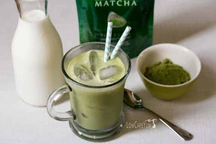 Low carb iced vanilla matcha green tea latte