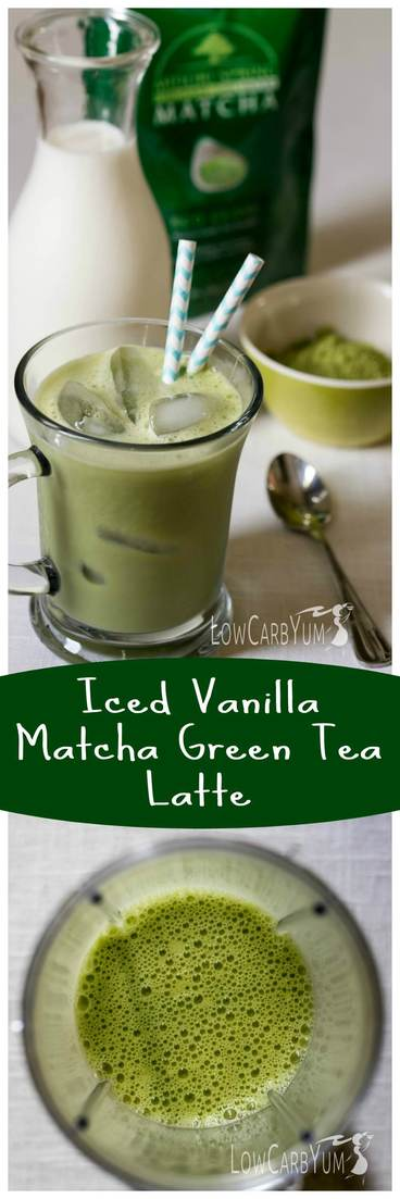 Need a healthier alternative to iced coffee? Try this low carb iced vanilla matcha green tea latte. It's low in calories with less than 1 gram of carbs! LowCarbYum.com