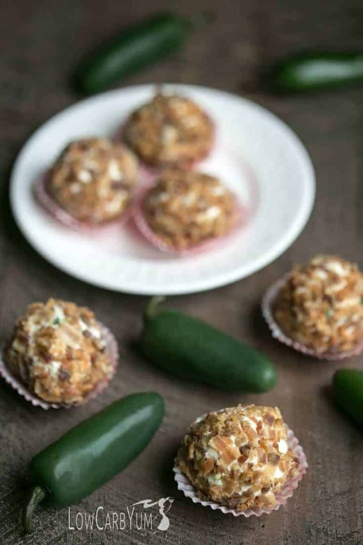 Cheesy jalapeño fat bombs recipe from the Sweet & Savory Fat Bombs Cookbook by Martina Slajerova. A delicious savory snack to boost fat intake.
