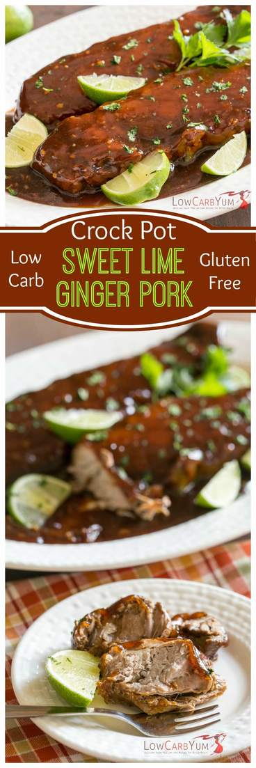 Miss sweet meat marinades? You can still enjoy them on low carb. This slow cooked crock pot sweet lime ginger pork is cooked in a delicious sweet sauce.   LowCarbYum.com