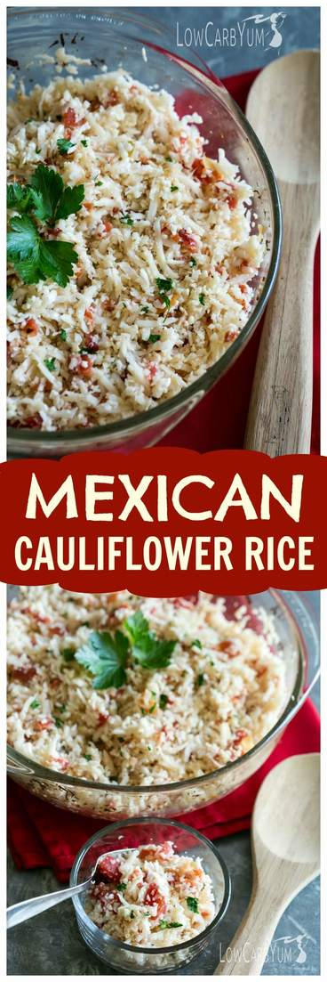 An easy low carb Mexican cauliflower rice that only takes a couple minutes to prepare. And, this simple dish can be made with only 4 common ingredients! #cauliflowerrice #glutenfree #lowcarb #mexicanfood #lowcarbrecipe | LowCarbYum.com
