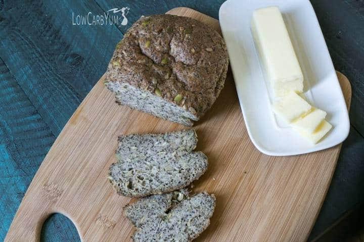 Low carb pumpkin sunflower seed psyllium bread