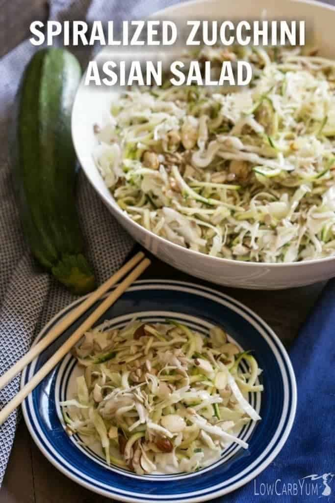 You'll enjoy this refreshing spiralized zucchini Asian salad on those lazy hot summer days. No cooking involved. Just mix and chill this side dish. | LowCarbYum.com