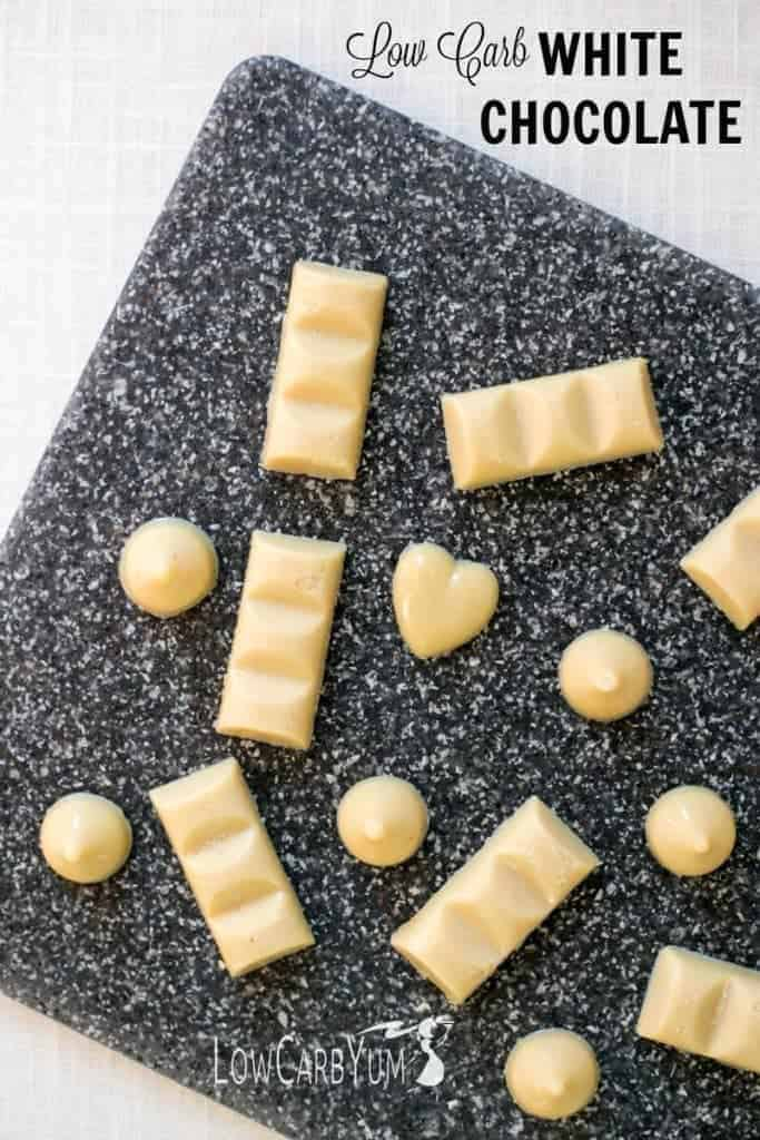 It difficult to find good low carb sugar free white chocolate bars. That's why it's just easier to make it at home with a recipe like this one.