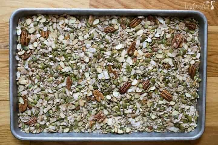 low carb muesli on baking pan