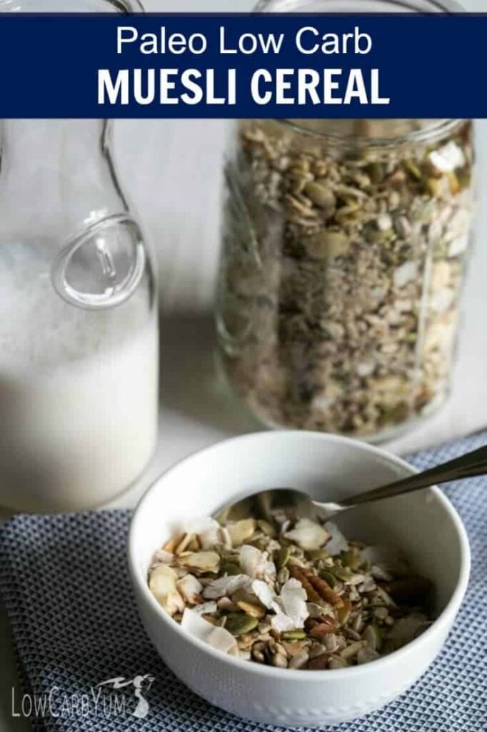 If you're following a gluten free paleo diet, you'll love this muesli low carb cereal. It's loaded with whole food ingredients without sugar added!