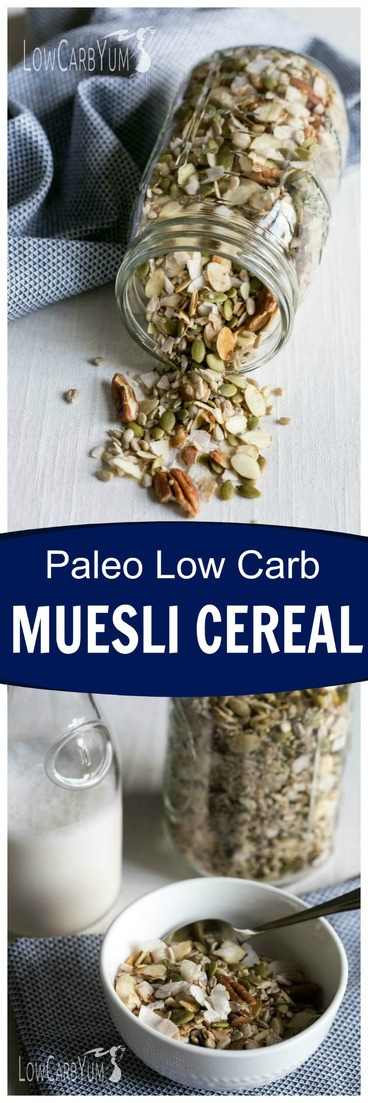 If you're following a gluten free paleo diet, you'll love this muesli low carb cereal. It's loaded with whole food ingredients without sugar added! #lowcarb #keto #ketorecipes #ketocereal #lowcarbcereal #paleo | LowCarbYum.com