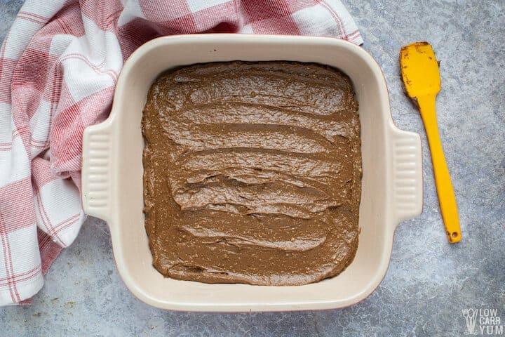 avocado brownie batter in pan